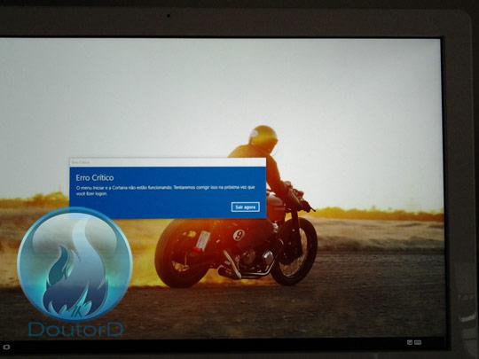 Windows 10 Erro Crítico O Menu Iniciar e a Cortana não estão funcionando como corrigir o erro 1