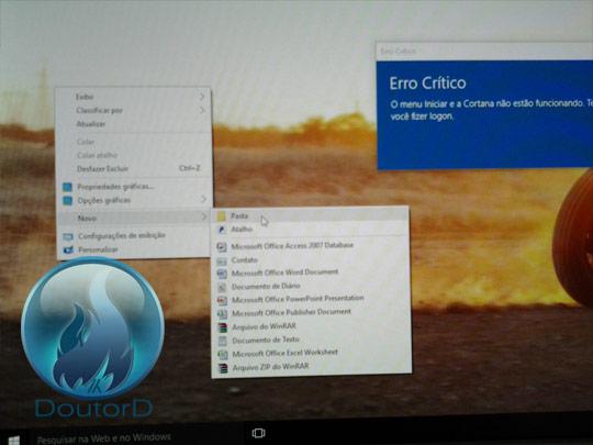 Windows 10 Erro Crítico O Menu Iniciar e a Cortana não estão funcionando como corrigir o erro 2
