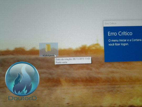 Windows 10 Erro Crítico O Menu Iniciar e a Cortana não estão funcionando como corrigir o erro 3