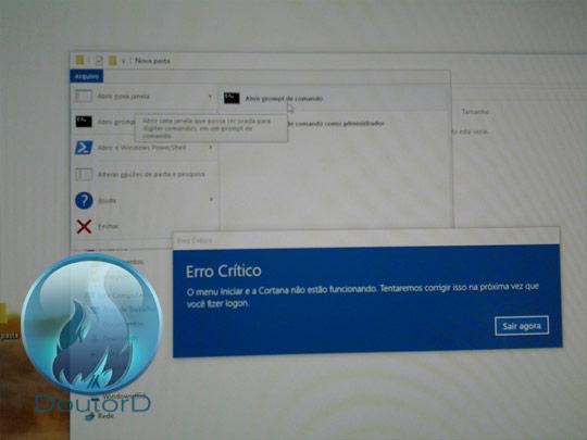 Windows 10 Erro Crítico O Menu Iniciar e a Cortana não estão funcionando como corrigir o erro 4