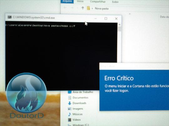 Windows 10 Erro Crítico O Menu Iniciar e a Cortana não estão funcionando como corrigir o erro 7